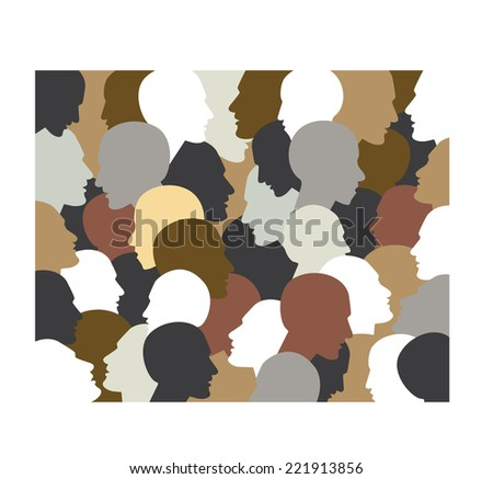 People profile heads. Vector background pattern. - stock vector
