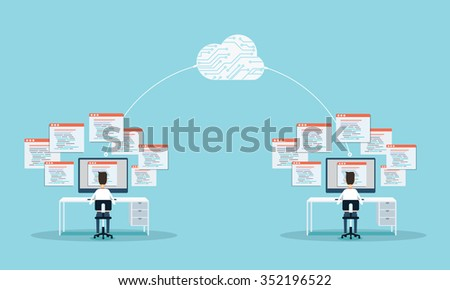 people programming develop web site and application on cloud.business connection.people working on monitor . - stock vector
