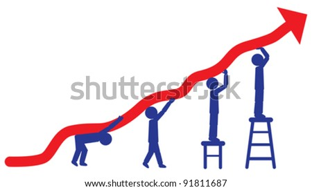 People pushing up arrow - concept of employees working hard for company to achieve profits. Organized as layers. CMYK Colors used. - stock vector