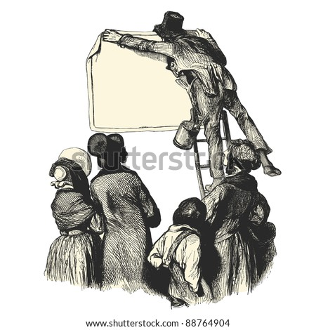 "People reading a poster in the street - Vintage engraved illustration - ""Les Francais"" by L.Curmer in 1842 France"