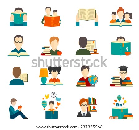 People reading book encyclopedia textbook icon flat set isolated vector illustration - stock vector