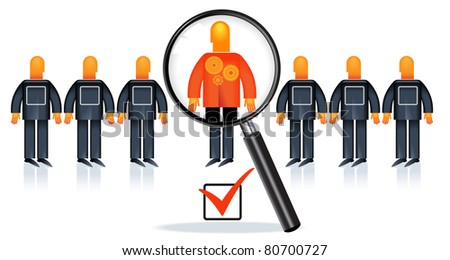 People Recruitment.the choice of people for work. selection of expert. search for specialists - stock vector