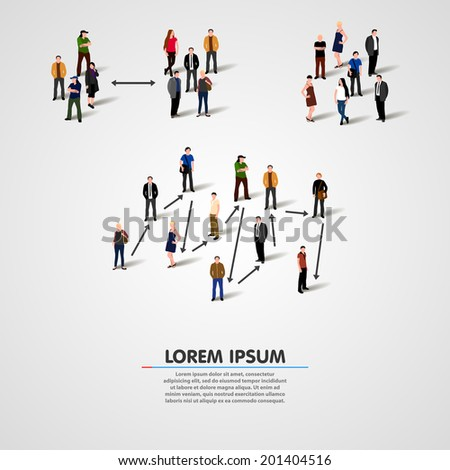 People relationship types concept. Vector illustration - stock vector