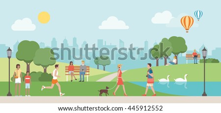 People relaxing in nature in a beautiful urban park, city skyline on the background - stock vector