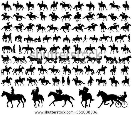 people riding horses silhouettes collection - vector illustration