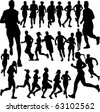 people running collection - vector - stock vector