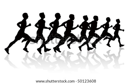 people running silhouettes - stock vector