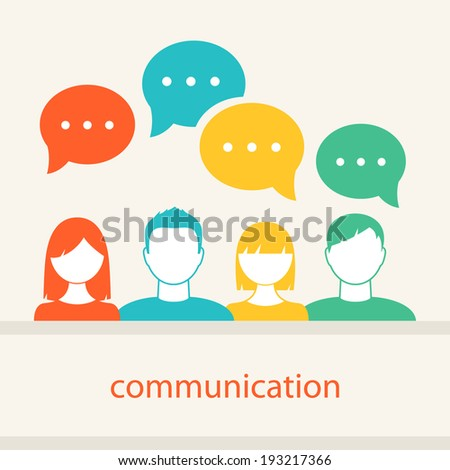 People's Faces Icons. Communication and Teamwork Concept - stock vector