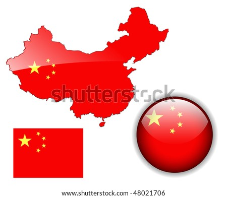 People's Republic of China  flag, map and glossy button, vector illustration set. - stock vector