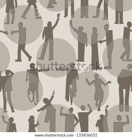 People seamless pattern - stock vector