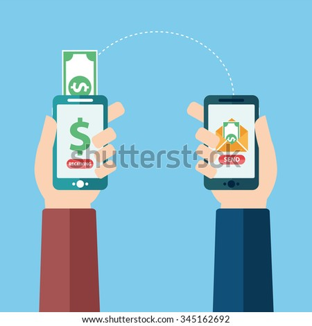 People sending and receiving money wireless with their mobile phones. Hands holding smart phones with banking payment apps. Flat style vector icons. - stock vector