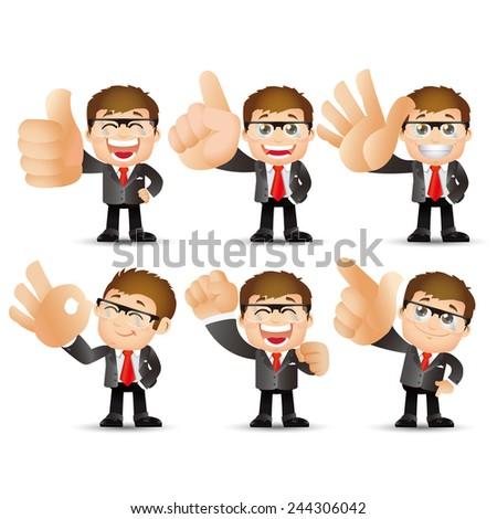 People Set - Business - Big hand. Businessman - stock vector