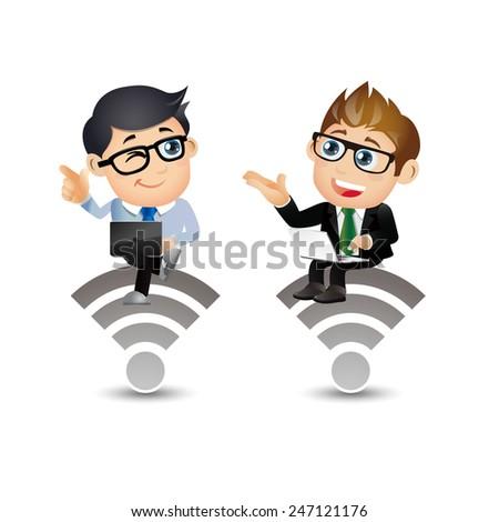 People Set - Business - Businessman communication. Wireless - stock vector