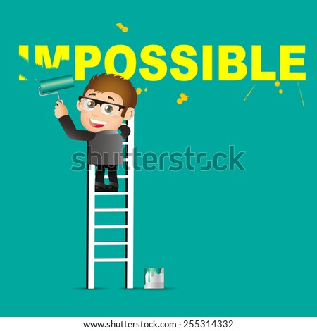 People Set - Business - Businessman erasing the word impossible - stock vector