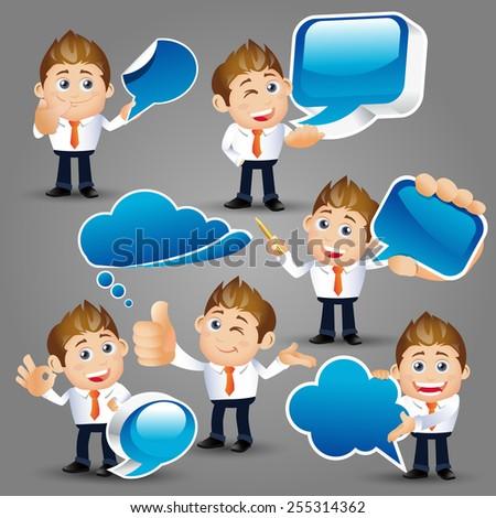 People Set - Business - Businessman holding speech bubbles - stock vector