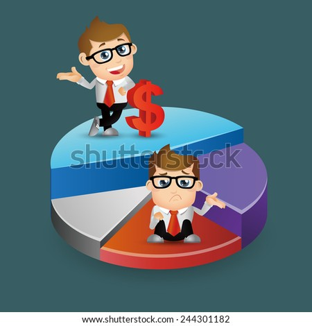 People Set - Business - Businessman standing on pie chart - stock vector