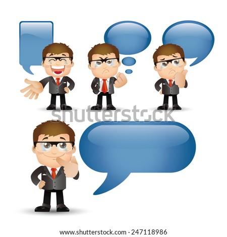 People Set - Business - Businessman talking. Speech bubbles -2 - stock vector