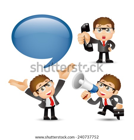 People Set - Business -Businessmen communicate - stock vector
