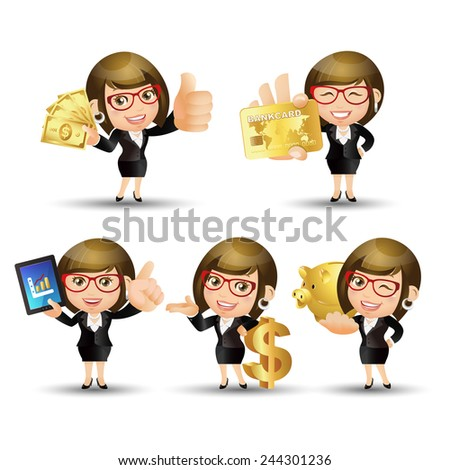 People Set - Business - Businesswoman. finance set. Gold - 2 - stock vector