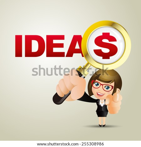 People Set - Business - Businesswoman. Ideas and dollar - stock vector