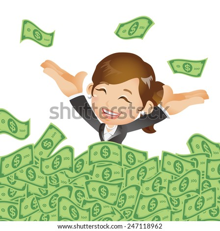 People Set - Business - Businesswomen on pile of money cash - stock vector