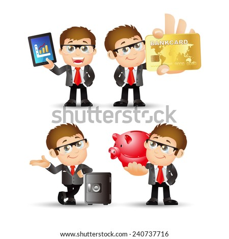 People Set - Business - Office man. finance set. - stock vector