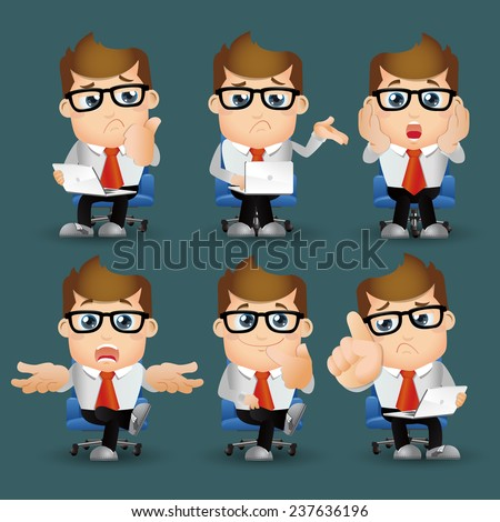 People Set - Business - Office man serious - stock vector