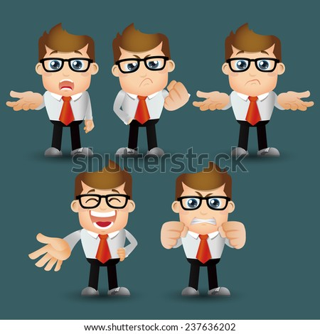 People Set - Business - Office man serious. emotion - stock vector