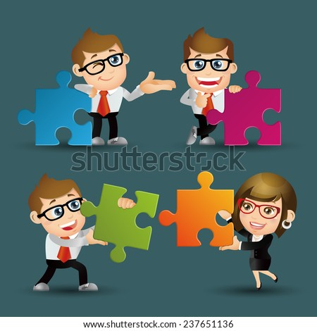 People Set - Business - Team of business people collaborate holding up jigsaw puzzle pieces as a solution to a problem - stock vector