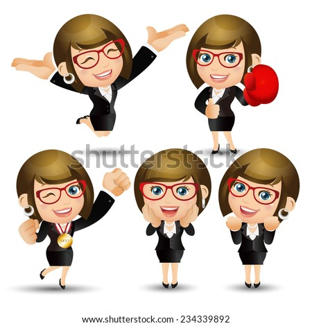 People Set - Business - Victorious. Women - stock vector