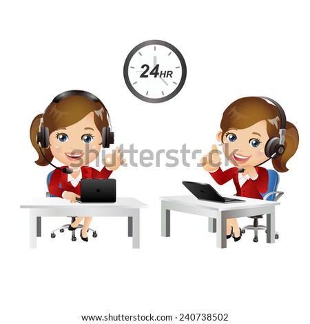People Set - Business - Woman. Customer support with headphones - stock vector