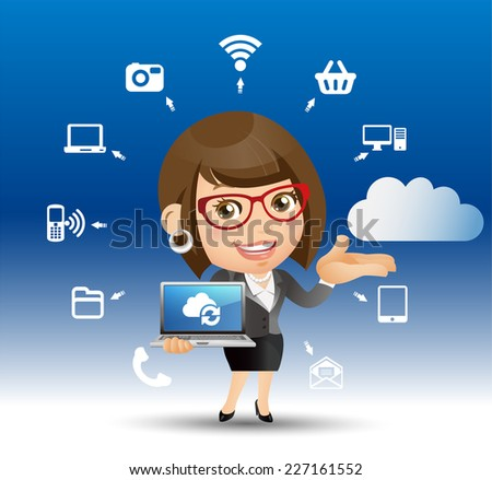 People Set - Cloud computing -Beautiful businesswoman - stock vector