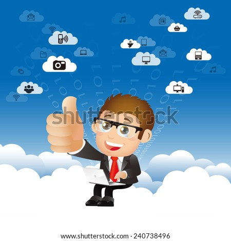 People Set - Cloud computing -Businessman work in the sky, Thumb up - stock vector