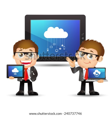 People Set - Cloud computing - Businessmen with cloud computing - stock vector
