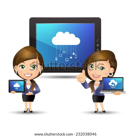 People Set - Cloud computing - Businesswomen with cloud computing - stock vector