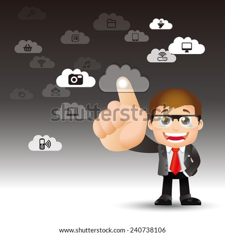 People Set - Cloud computing - cloud computing men - stock vector