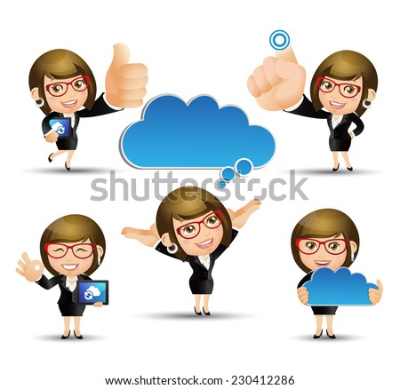 People Set - Cloud computing - 5 cloud computing women. blue cloud - stock vector
