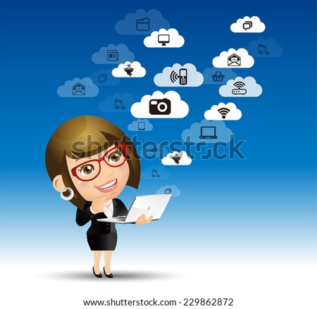 People Set - Cloud computing - cloud computing women. blue sky - stock vector