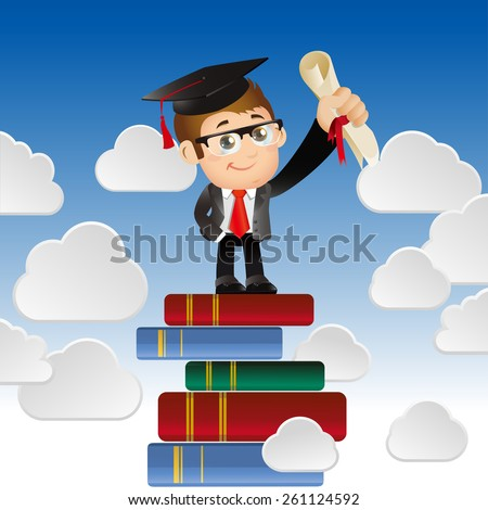 People Set - Education - Graduate student. Ambitious man looking for future trends concept - stock vector