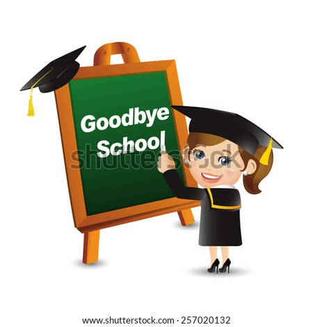 People Set - Education - Graduate student. Goodbye school. Woman - stock vector