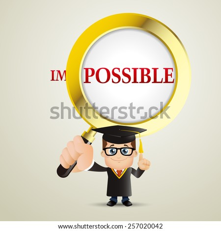 People Set - Education - Graduate student. Man. It is possible - stock vector