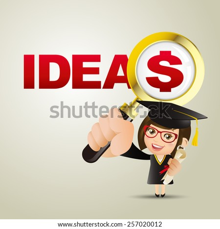 People Set - Education - Graduate student. Woman. Ideas and dollar - stock vector