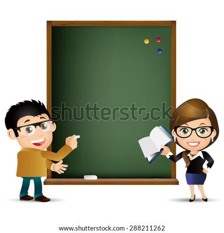 People Set - Education - Teacher. Blackboard - stock vector
