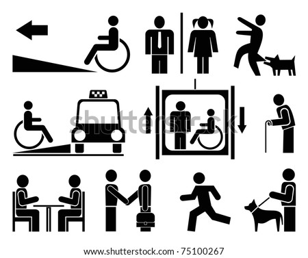 People - set of vector pictograms. Black icons on white background. Signs, isolated design elements. Simple. - stock vector