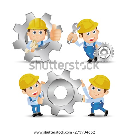 People Set - Profession - Builder with gear wheel - stock vector