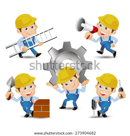 People Set - Profession - Builder with tools - stock vector
