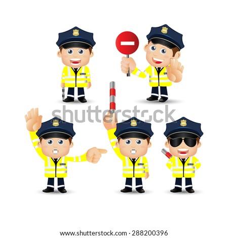 People Set - Profession - Traffic Policeman - stock vector