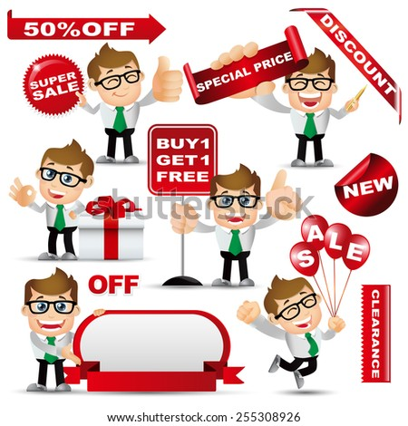 People Set - Shopping - Man with sale design set - stock vector