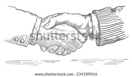 People shaking hands. Vector of handshake of two businessmen  at retro engraving style. - stock vector