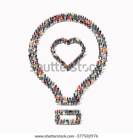 people  shape  balloon love - stock vector